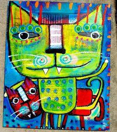Tracey Ann Finley Original Outsider Raw Folk Art Painting Yellow Red Cat Buddy #OutsiderArt