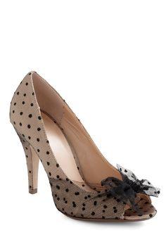 Chiaroscuro Allure Heel - Tan, Black, Polka Dots, Bows, Mid, Peep Toe, Wedding, Variation, Formal