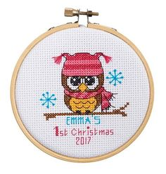 There's only one first Christmas! Remember it with a cute owl ornament. Counted cross-stitch kit includes white Aida cloth, enough cotton floss for either boy or girl colors, needle, chart, and directions and one wooden hoop. Cross Stitch Owl, Cross Stitch Fabric, Counted Cross Stitch Patterns, Cross Stitch Charts, Cross Stitching, Cross Stitch Embroidery, Theme Noel, Hand Embroidery Patterns, Embroidery Designs