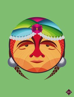 """""""Pachamama"""" is a personal project by Chilean illustrator and art director Cristobal Ramírez. In this colorful series, he illustrates tribal ancestors from all around the world, especially Latin America. More illustrations Visit his website Spiritual Images, Hispanic Heritage Month, Denim Art, 5th Grade Art, Weaving Designs, Chicano Art, Native American Art, Art Director, Public Art"""