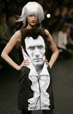 Clint Eastwood Dress, by Castelbajac. This is hilarious. Without the hair it would be really cool though :( Love Clint!