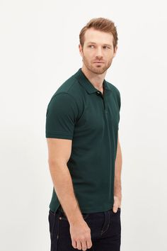 Cortefiel Cotton polo Dark green