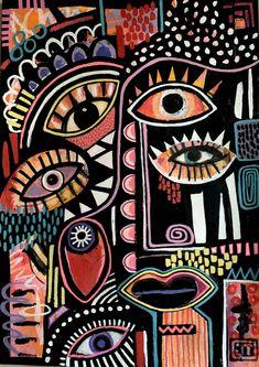 Cool Art Drawings, Cool Artwork, Satanic Art, Trippy Painting, Canvas Painting Tutorials, Funky Art, Identity Art, Hippie Art, Naive Art
