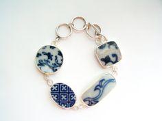 Broken China Bracelet Pottery Shard Bracelet in Blue by polishedtwo, $28.00