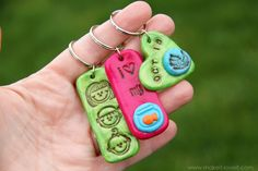 Super cute clay key rings for children to make