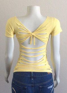 Sew T-Shirt Yellow womans cut up t-shirt inspired by Adam by CristinsCuts - Zerschnittene Shirts, Diy Cut Shirts, T Shirt Diy, Cut Tshirt Ideas, Cutting T Shirts, Ways To Cut Shirts, Diy Old Tshirts, Cut Up Tees, Cut Up T Shirt