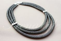 Mesh necklace .Black mesh necklace / contemporary design jewelry / silver Japanese beads / industrial wire mesh