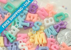14mm Cute Pastel Alphabet Letter Words Plastic or by delishbeads