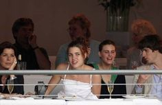 Princess Caroline ( left ) and daughter Charlotte Casiraghi.with unnamed friends, attend The International Monte Carlo Horse Show Jumping, in Monaco,June 23, 2006
