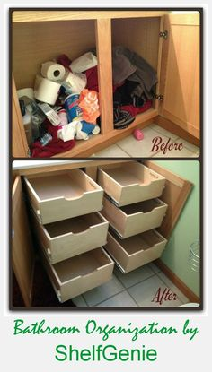 Ideas For Diy Bathroom Organization Shelves Storage Ideas Bathroom Cabinet Organization, Bathroom Shelves, Diy Organization, Bathroom Cabinets, Organizing Ideas, Bathroom Closet, Kitchen Cabinets, Bathroom Ideas, Bath Ideas