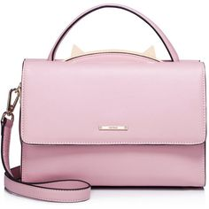 Pink Fold-over Flat Top Cowhide Leather Satchel (3.200 UYU) ❤ liked on Polyvore featuring bags, handbags, bolsas, bolsos, pink, purses, pink purse, handbag satchel, pink satchel and pink satchel purse