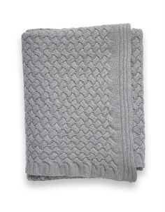 "Sofia Cashmere Basketweave (Piemonte) Throw (56""W x 72""L). In Grey."