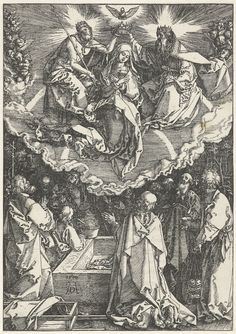 Albrecht Dürer | Hemelvaart en kroning van Maria, Albrecht Dürer, 1510 | De apostelen staan om een leeg graf en kijken omhoog, waar Maria in de hemel door Christus en God wordt gekroond. Op versozijde gedrukte Latijnse tekst. Deze prent is onderdeel van een serie van 20 prenten, bestaand uit een titelprent en 19 prenten met scènes uit het leven van Maria.