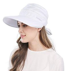 Wide Large Brim Sun Hat Summer UV Protection Thin Hat 2 in 1 Beach Sun Hat,White,One Size