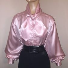 3X PINK Vintage HIGH NECK Shiny LIQUID SATIN BOW BLOUSE Bust 52""