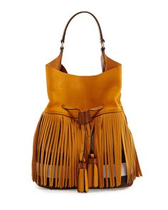 Asby Large Canvas Check & Leather Bucket Bag, Light Copper