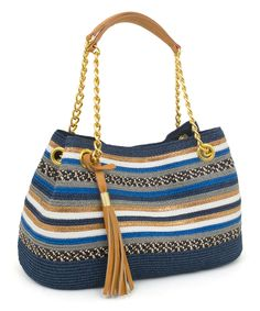 Take a look at this Blue & Goldtone Medley-Stripe Shoulder Bag on zulily today! Crochet Handbags, Crochet Purses, Crochet Bags, Hello Kitty Crochet, Crochet Wallet, Striped Shoulder Bags, Cute Handbags, Tapestry Crochet, Crochet Videos