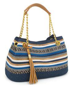Blue & Goldtone Medley-Stripe Shoulder Bag by Magid #zulily #zulilyfinds