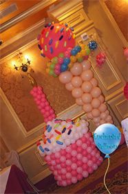 Giant Birthday Balloon Cupcake and Balloon Ice Cream Cone.  Great Birthday party décor!