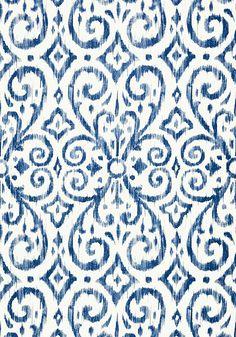 Patara Ikat - Navy wallpaper, from the Caravan collection by Thibaut Navy Wallpaper, Bathroom Wallpaper, Home Wallpaper, Fabric Wallpaper, Pattern Wallpaper, Wallpaper Backgrounds, Blue And White Wallpaper, Orange Wallpaper, Wallpaper Stores
