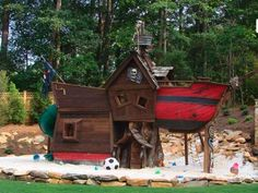 For over the top kids fort ideas, here's a pirate ship that will rock their world.