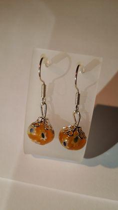 Orange beaded handmade Earrings