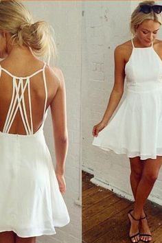 Cute Short Chiffon Homecoming Dress For Women Party White Prom Dress Open Back