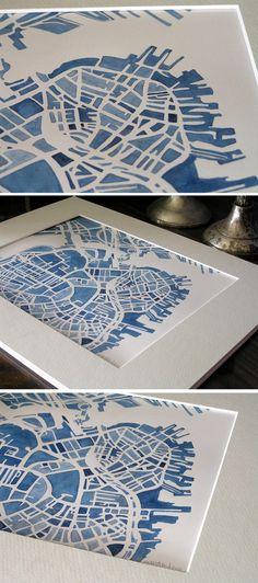 watercolor boston city #map