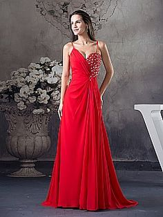 Spaghetti Strapped Flowing Chiffon Prom Dress with Beading Decor - USD $126.00