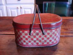 Vintage Red and White Check Tin Lunch Pail Bucket Rustic Farmhouse Chic Cute