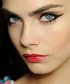 Cara Delevingne is known for her bold brows. Eccentuate your eyebrows by filling them in with a powder or pencil. Remember brows shape your face so find which one compliments your figure the best :)