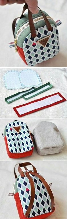 Make a Mini Back Pack Coin Purse and Key Chain. ~ Sewing projects for beginners. Step by step sew tutorial. How to sew illustration. bag Mini Back Pack Coin Purse Sewing Hacks, Sewing Tutorials, Sewing Patterns, Sewing Ideas, Purse Patterns, Sewing Tips, Dress Patterns, Stitch Patterns, Doll Crafts