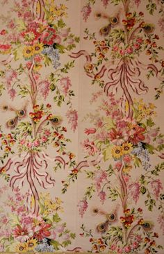 Marie Antoinette 18thcentury: eachdayaflower: Detail of wallpaper in the queen's bedroom at the Palace of Versailles.