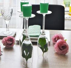 candle wine glasses decoration for a romantic dinner