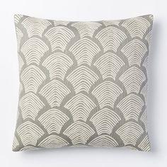 Crewel Deco Shells Pillow Cover - Platinum   west elm