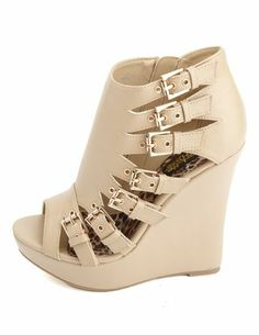 Cut-Out Buckle Peep Toe Wedges: Charlotte Russe