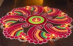 Best and easy rangoli designs for festivals. Rangoli designs for all festivals. Quick and simple rangoli designs for festivals. Must try rangoli designs for all festivals. Simple Rangoli Designs Images, Colorful Rangoli Designs, Rangoli Designs Diwali, Kolam Rangoli, Flower Rangoli, Beautiful Rangoli Designs, Kolam Designs, Easy Rangoli Patterns, Rangoli Colours