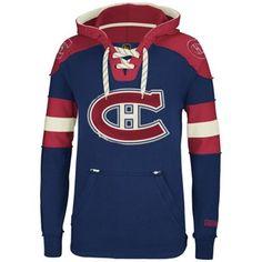 Mens Montreal Canadiens Reebok Navy Blue Pullover Hoodie 680715edf