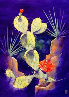 ACEO Limited Edition Giclee Print Of Original Watercolor Painting Desert Cactus
