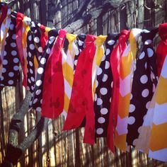 Mickey Mouse Inspired Rag Tie Garland   Fabric by SimplyGarland, $30.00