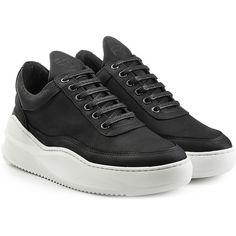 Filling Pieces Sky Sneakers (2.940.625 IDR) ❤ liked on Polyvore featuring shoes, sneakers, black, black leather sneakers, polish shoes, black platform shoes, black leather shoes and black shoes