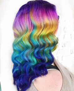 Pravana Vivids rainbow hair color wavy hair.
