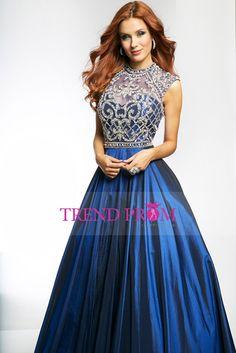 2015 High Neck Backless Prom Dresses Taffeta With Beading Floor Length