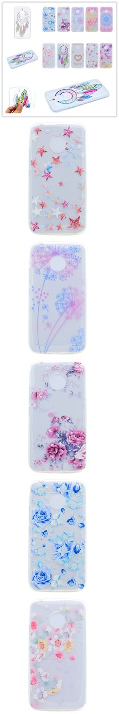 Soft TPU Covers Cases For Coque Motorola Moto G5 Cover Painted relief diamond Datura flower Cherry blossoms Love For Moto G5