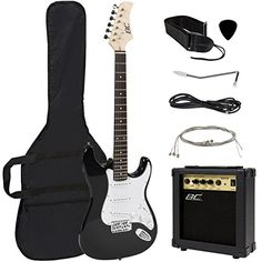 Best Choice Products Full Size Beginner Electric Guitar Starter Kit with Case Strap Amp Strings Pick Tremolo Bar (Blue) Beginner Electric Guitar, Electric Guitar And Amp, Cool Electric Guitars, Guitar Reviews, Guitar Exercises, Guitar Tattoo, Tattoo Music, Drum Lessons, Guitar For Beginners