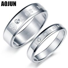 541e46c453 AOJUN Stainless Steel Couples Rings For Men And Woman Crystal Rings Vintage  Wedding Engagement Ring Fashion