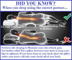 When you sleep using the correct posture. Causes Of Back Pain, Neck And Back Pain, Low Back Pain, Neck Pain, Hip Pain Relief, Sleep Positions, Knee Pillow, Sciatica Pain, When You Sleep