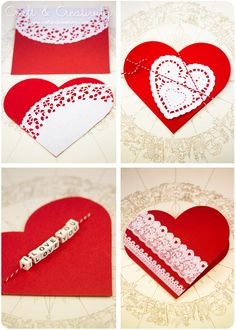 Check Out 25 Valentine Craft Express You Love in a Unique Way. Valentine's Day is a special day for the people who are in love. Valentines Day Activities, Valentine Day Crafts, Paper Doily Crafts, Diy Crafts, My Funny Valentine, Heart Cards, Homemade Cards, Cardmaking, Crafty