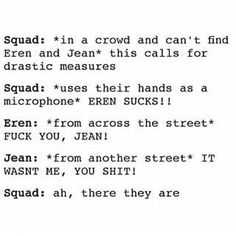 Attack on Titan || #AOT haha this would be a pretty good way to find them.