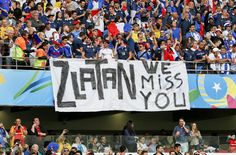 French supporters hold a banner referring to Swedish player Zlatan Ibrahimovic before the group E World Cup soccer match between France and Honduras at the Estadio Beira-Rio in Porto Alegre, Brazil, S